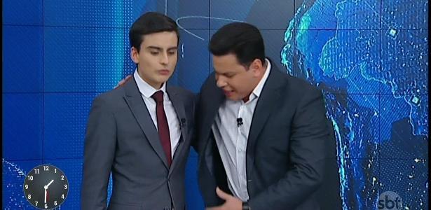 """Dudu Camargo e Marcão em momento tenso no """"Primeiro Impacto"""""""