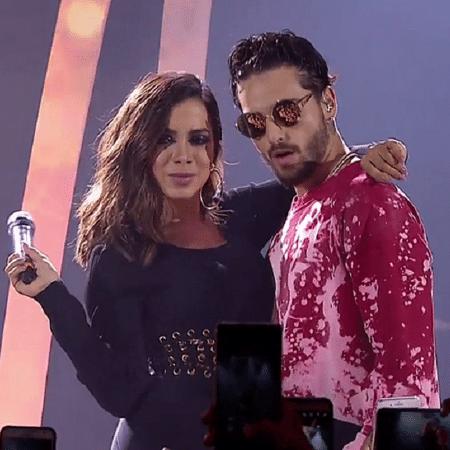 """Anitta e Maluma no """"Música Boa Ao Vivo"""" - Reprodução/Multishow"""