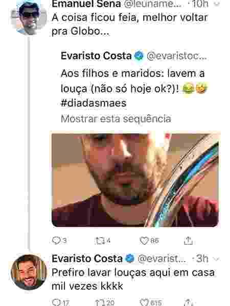 Indiretamente, Evaristo Costa diz que prefere lavar louça do que voltar para a Globo - Reprodução/Twitter - Reprodução/Twitter