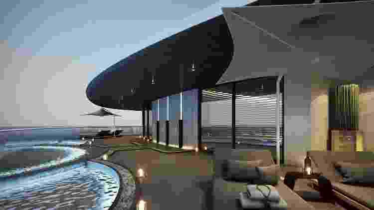 Perspectiva da área de spa de 550 m² do Scenic Eclipse: a elegância da decoração chama atenção frente ao visual carregado dos grandes navios de cruzeiro - Divulgação - Divulgação
