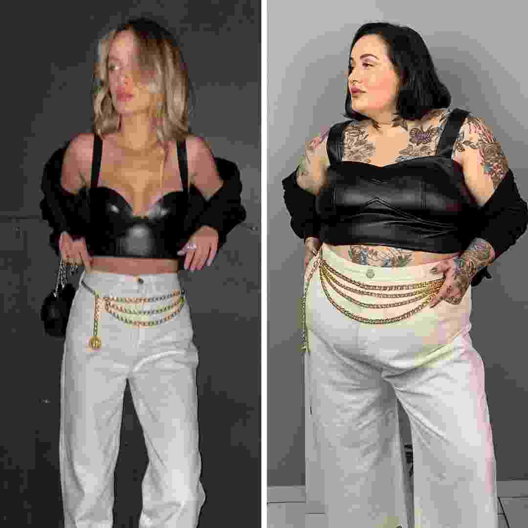 """Jessica Lopes recria looks de modelos magras: """"Muitas vezes, a mulher gorda pensa que não funciona nela o look que fica lindo na mulher magra, seja uma calça branca, um top curtinho, mas eu tento mostrar que não. Basta vestir"""", diz - Reprodução/Instagram"""