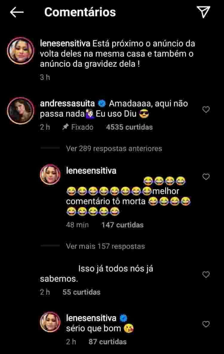 Andressa Suita comentou publicação no Instagram - Reprodução/Instagram @lenesensitiva - Reprodução/Instagram @lenesensitiva