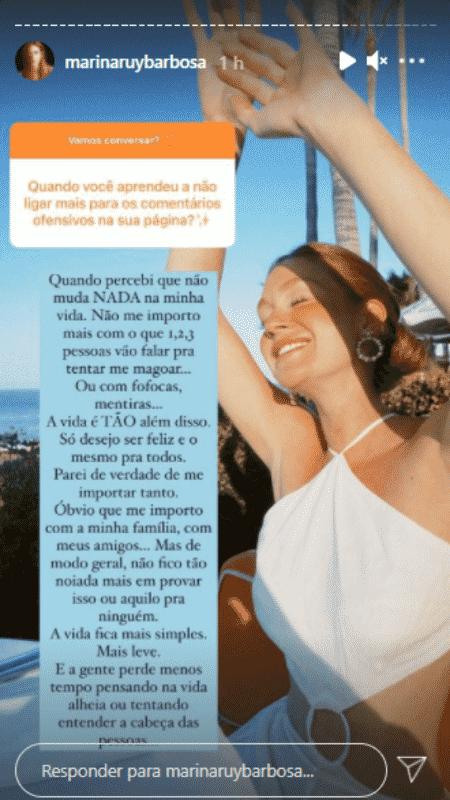 Story de Marina Ruy Barbosa - Reprodução/Instagram - Reprodução/Instagram