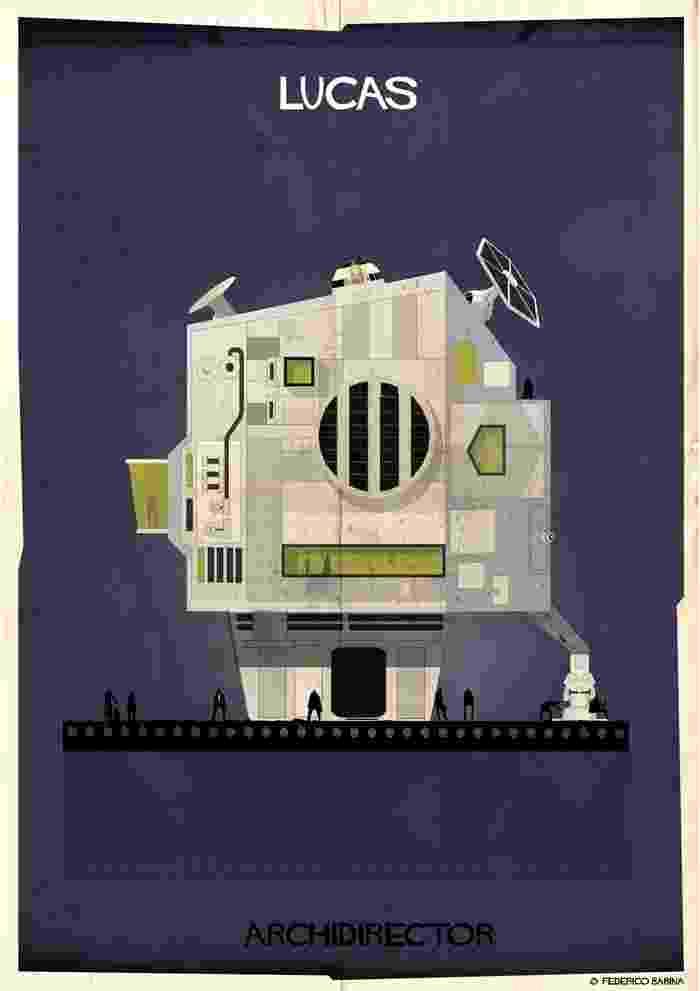 """Federico Babina interpreta a obra de George Lucas, criador da saga Star Wars, em uma casa com muita tecnologia e um """"R2D2"""" no teto - Divulgação/ Federico Babina"""