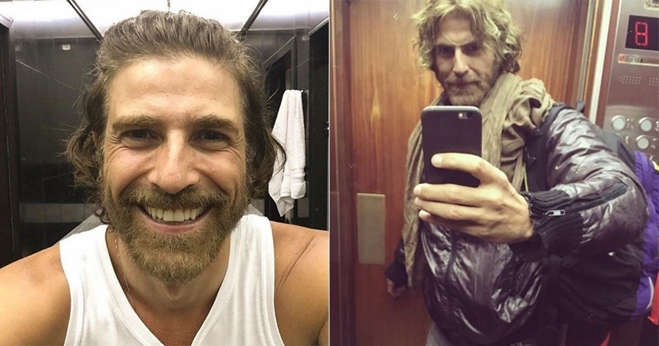 25.jul.2-16 - Reynaldo Gianecchini resolveu aderir ao visual loiro e barbudo. Distante da TV desde o fim de