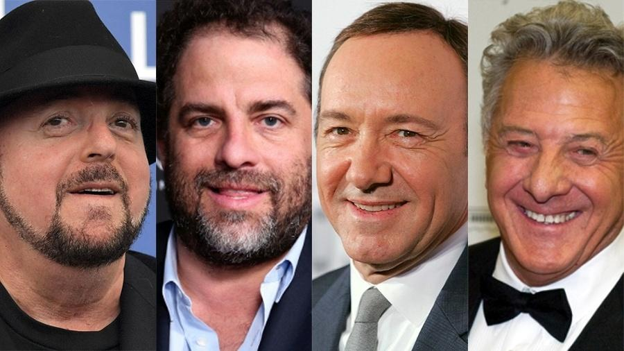 James Toback, Brett Ratne, Kevin Spacey e Dustin Hoffman são apenas alguns dos homens a serem denunciados por assédio sexual depois do caso Harvey Weinstein - Tiziana Fabi/AFP, Willy Sanjuan/Invision/AP e Getty Images
