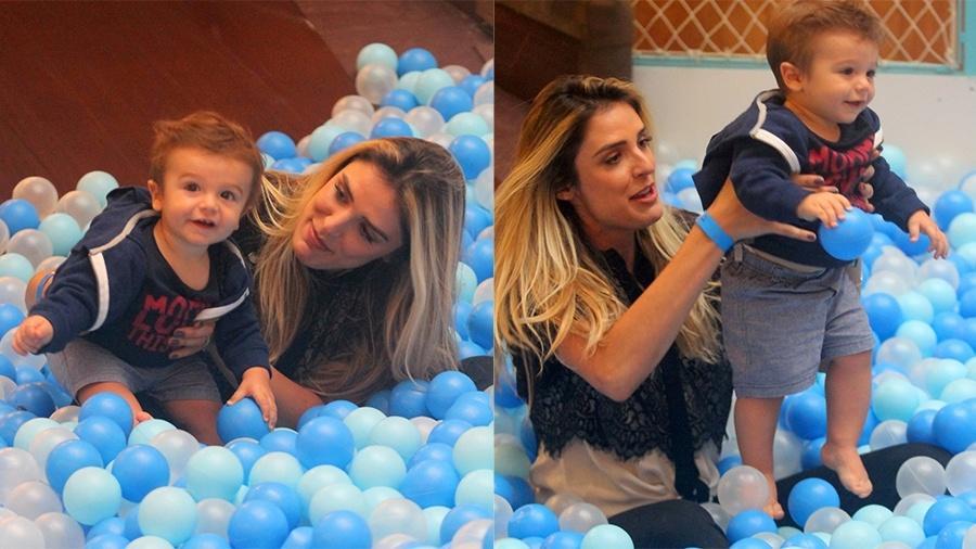 Rafa Brites se diverte com o filho em parquinho de shopping - Ag.News