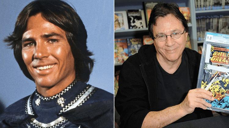"""Antes e depois de Richard Hatch, o Capitão Apolo de """"Battlestar Galactica"""" - Reprodução/GettyImage/Montagem"""
