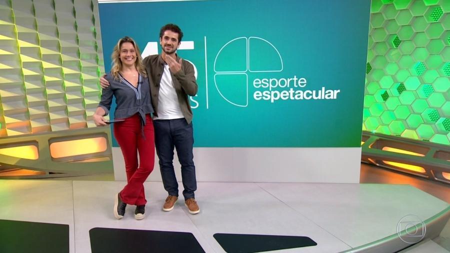 """Fernanda Gentil e Felipe Andreoli; apresentadora se despediu neste domingo (9) do """"Esporte Espetacular"""" - Reprodução/Globo"""