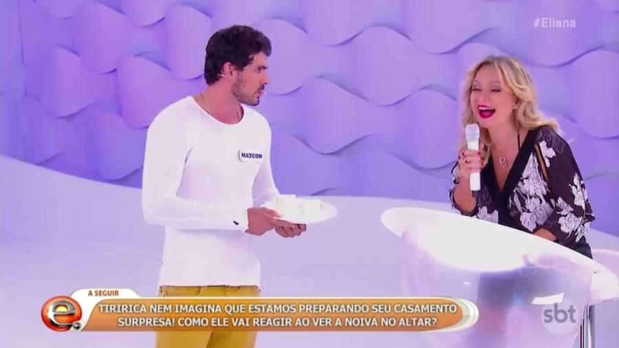 """Maycon Santos, do """"BBB19"""", participou do """"Rola ou Enrola"""", quadro do programa """"Eliana"""", no SBT - Reprodução/SBT"""
