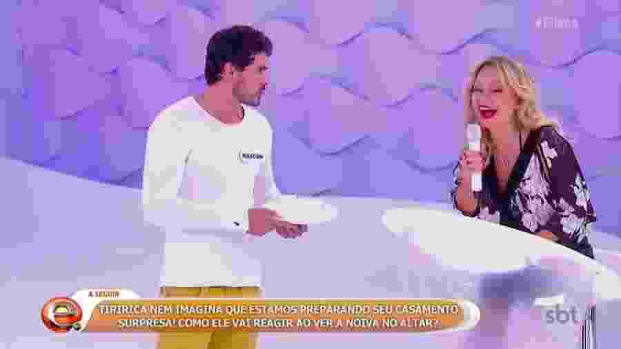 """Maycon Santos, do """"BBB19"""", participa do """"Rola ou Enrola"""", no programa """"Eliana"""", no SBT - Reprodução/SBT"""