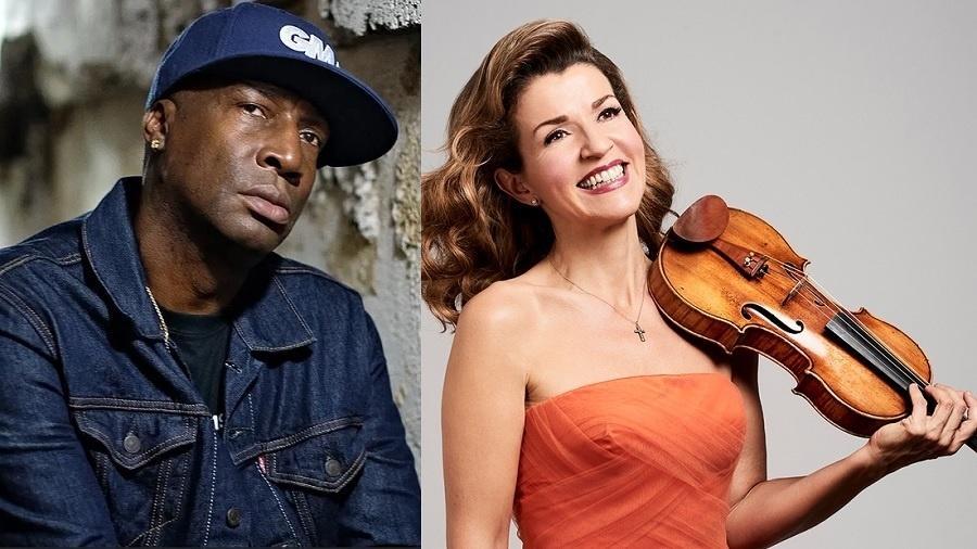 Grandmaster Flash, pioneiro do hip hop, e a violonista Anne-Sophie Mutter  - Divulgação/Montagem