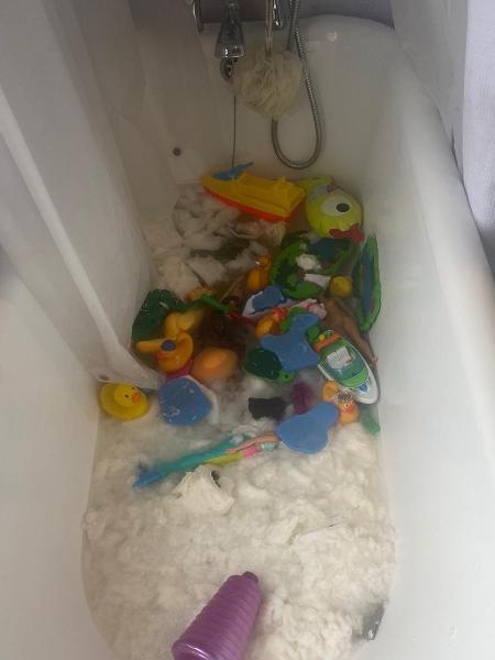 Crianças jogaram 18 rolos de papel higiênico na banheira de casa, acabando com o estoque feito pela mãe - Reprodução/Twitter