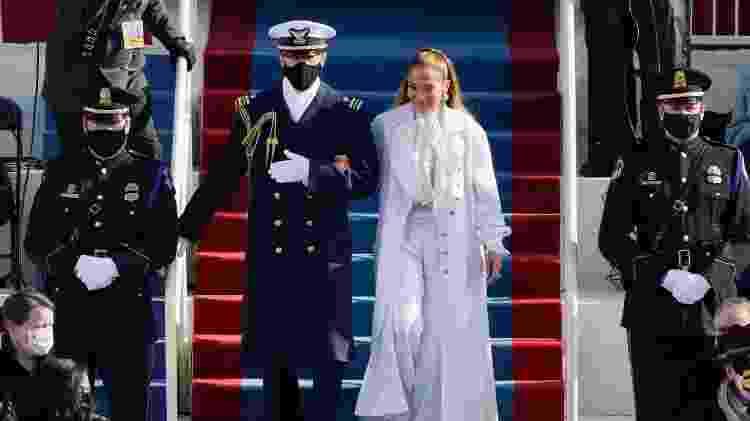 Jennifer Lopez vestiu um conjunto de calça e blusa brancas com colarinho pregueado em renda - Getty Images - Getty Images