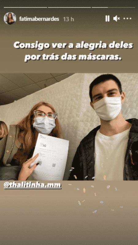 Fátima Bernardes comemora vacinação do filho e de nora na França - Reprodução/Instagram - Reprodução/Instagram