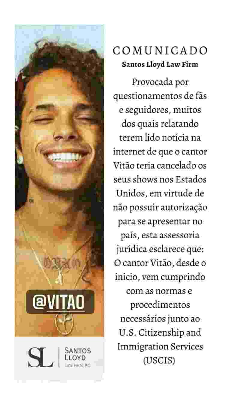 Vitão compartilhou comunicado - Reprodução/Instagram @santoslloydlaw - Reprodução/Instagram @santoslloydlaw