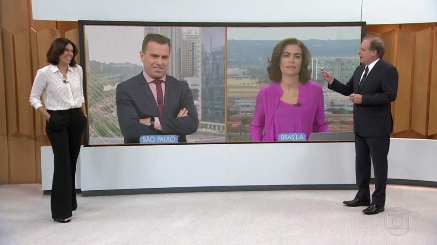 """Chico Pinheiro arrisca passinhos de forró no """"Bom Dia Brasil"""" - Reprodução/TV Gloo"""