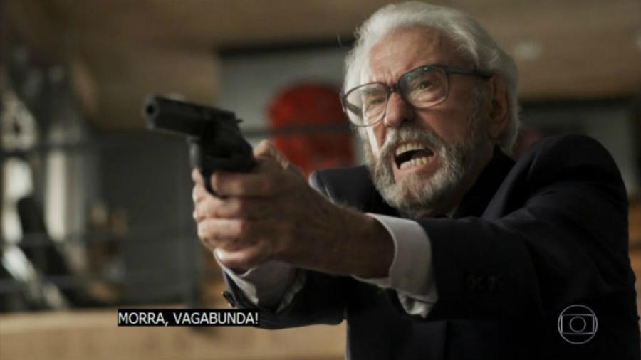 """Juca de Oliveira em sua última cena na novela """"O Outro Lado do Paraíso"""" - Reprodução/TV Globo"""