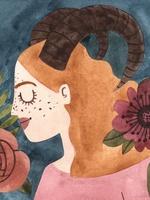 Ilustração de uma personagem representando o signo de Capricórnio. Vestida com camisa na cor rosa, a personagem possui forma humana, enquadramento de busto e está posicionada de lado. Na cabeça, por cima dos cabelos longos e laranjas, dois chifres grandes curvados e voltados para trás. O fundo da imagem é azul escuro, acompanhado por algumas flores vermelhas.