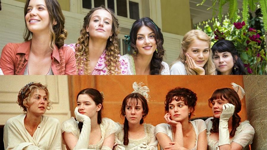 """As irmãs Benedito, de """"Orgulho e Paixão"""", e as irmãs Bennet, do filme """"Orgulho e Preconceito"""" - Reprodução/IMDB/Globo/Estevam Avellar/Globo/Marília Cabral"""