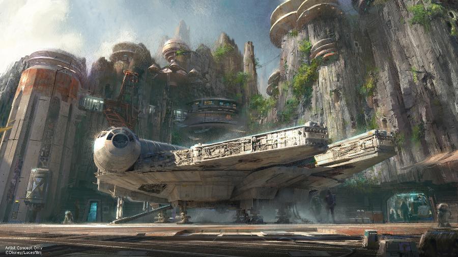 Concepção artística do Star Wars: Galaxy´s Edge, que será a maior expansão temática da história da Disney - Divulgação