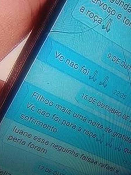 Imagem da conversa entre Caique Aguiar e mãe no aplicativo Whatsapp  - Reprodução/RecordTV