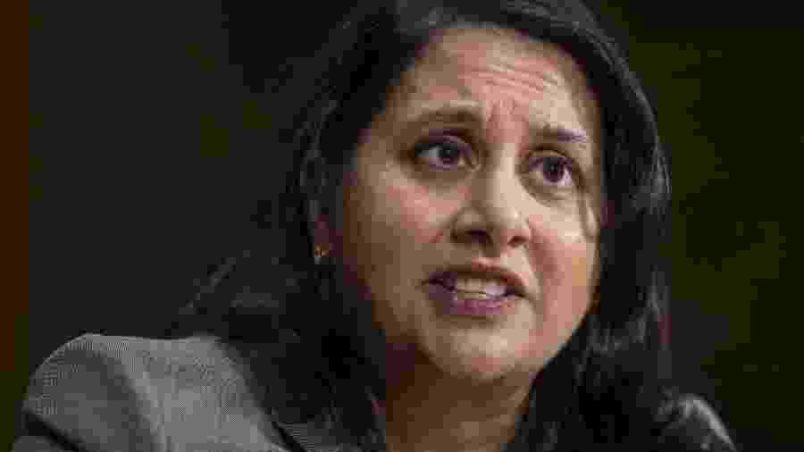 Neomi Rao, jurista nomeada pelo presidente Donald Trump para Tribunal Federal de Apelações, em sua audiência de confirmação no Senado - AFP