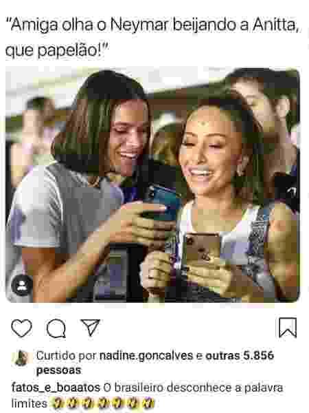 Nadine, mãe de Neymar, curte meme com foto de Marquezine sobre beijo em Anitta - Reprodução/Instagram