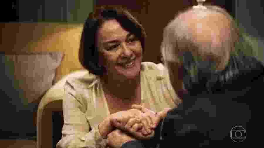 Evelina (Nívea Maria) e Antero (Ary Fontoura) em A Dona do Pedaço - Reprodução/Globo