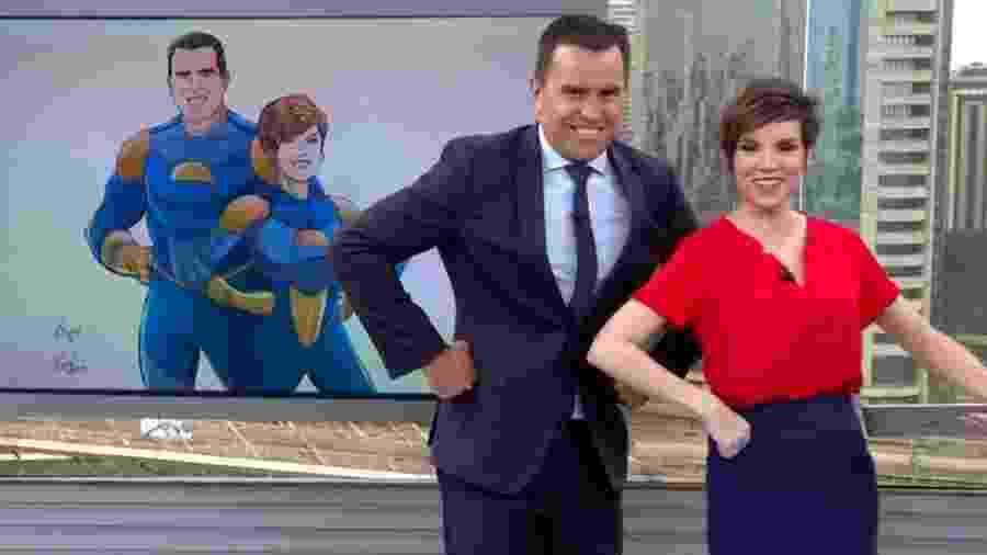 Bocardi e Glória tentaram reproduzir o avatar ao vivo no estúdio do Bom Dia SP - Reprodução/TV Globo