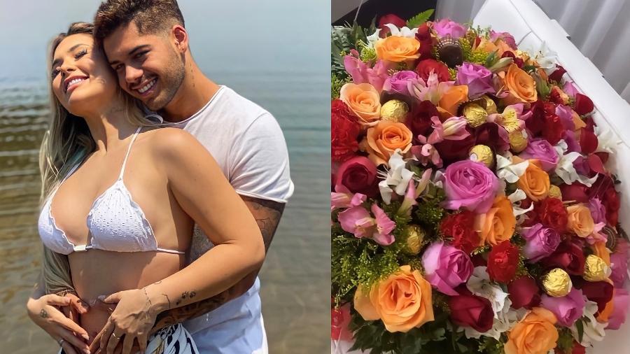 Zé Felipe presenteia noiva com buquê de flores e chocolates - Reprodução/Instagram @virginia