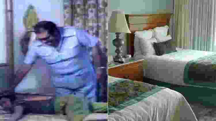 Quarto onde Chaves dormiu em Acapulco em 1977 (à esquerda) e atualmente - Montagem/Reprodução/Arquivo pessoal - Montagem/Reprodução/Arquivo pessoal
