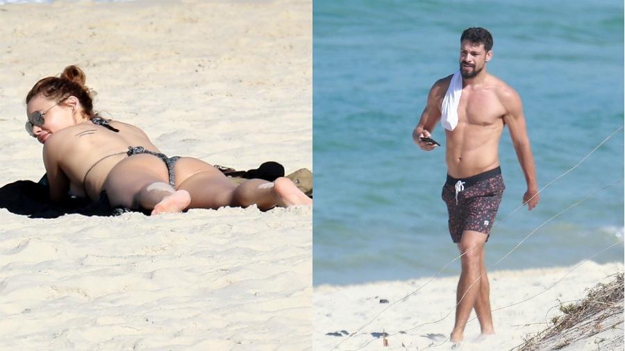 Rita Guedes e Cauã Reymond curtem praia - AgNews