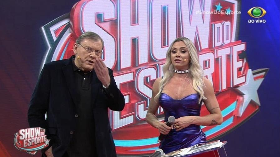"""Milton Neves e Juju Salimeni no """"Show do Esporte"""" - Reprodução/Band"""
