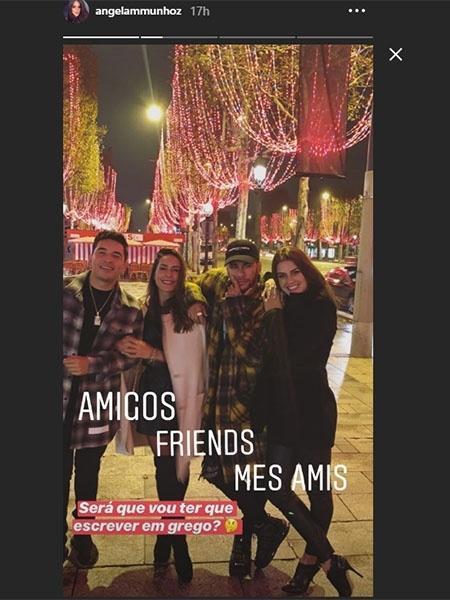 Ex-BBB Angela Munhoz aparece ao lado de Neymar e amigos em Paris