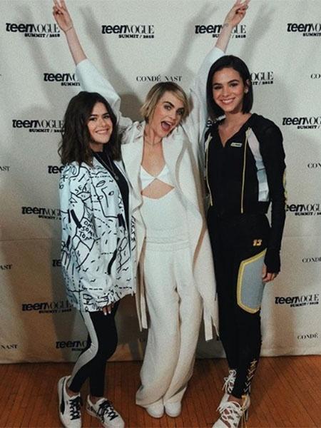 Maisa com Bruna Marquezine e da atriz internacionalCara Delevingne durante um evento, nos Estados Unidos - Reprodução/Instagram