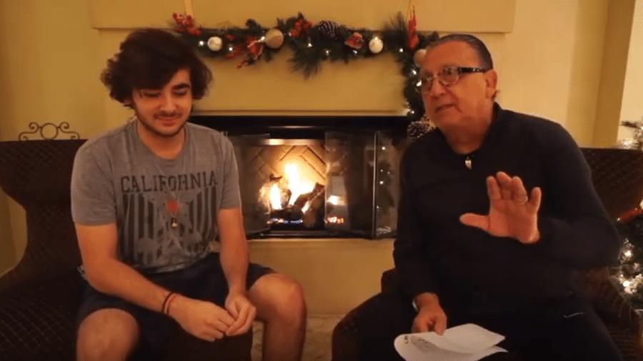 Luca Bueno com o pai, Galvão Bueno - Reprodução/YouTube