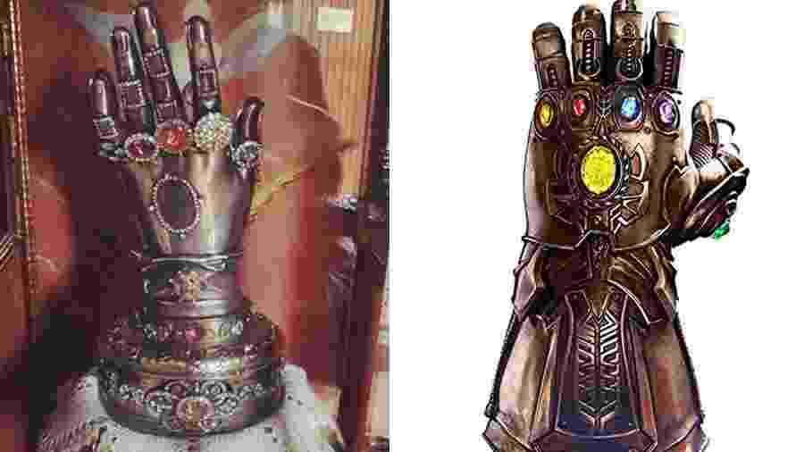 A mão de Santa Teresa e a Manopla do Infinito. A semelhança é espantosa - Arte UOL com Reprodução e Divulgação