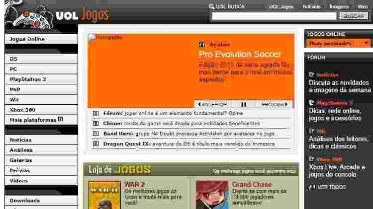 O que era notícia no UOL Jogos em novembro de 2009? - Reprodução