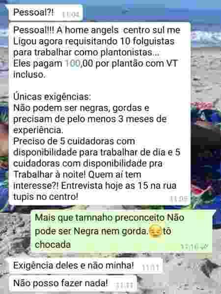 Mensagem no WhatsApp que gerou a denúncia - Reprodução