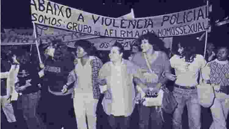 Protesto contra violência policial contra minorias sociais em junho de 1980, no Theatro Municipal de São Paulo - Reprodução - Reprodução
