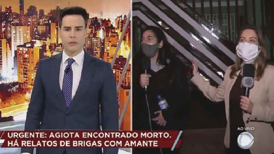 """Luiz Bacci, apresentador do """"Cidade Alerta"""",  Amanda, filha do homem assassinado, e a repórter Luiza Zanchetta - Reprodução"""