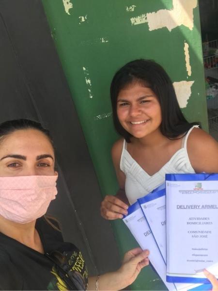 A estudante Maria Eduarda Ribeiro de Freitas e a coordenadora Mahra Farias - Arquivo Pessoal