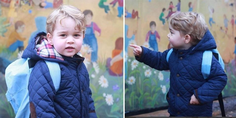 6.jan.2015 - A conta no Instagram da assessoria de imprensa da família real divulgou fotos do Príncipe George indo pela primeira vez na escola