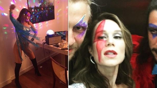 5.fev.2016 - Mariana Ximenes pintou um raio em seu rosto em homenagem a David Bowie, morto em janeiro, para o baile Rival Sem Rival, no Rio de Janeiro