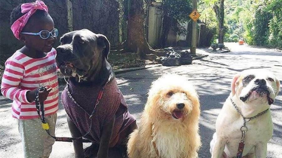 Titi, filha de Giovanna Ewbank e Bruno Gagliasso, leva os cachorros da família para passear e conquista a web - Reprodução/Instagram/gio_ewbank