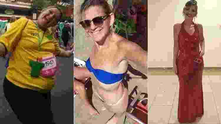 Cinthia antes da cirurgia, depois dela e no concurso Miss Bariátrica - Arquivo pessoal - Arquivo pessoal