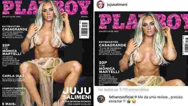 Capa de Juju Salimeni na Playboy e comentário inusitado de Felipe Franco - Reprodução/Instagram - Reprodução/Instagram