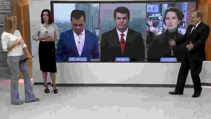 """Chico Pinheiro imita lutador Lyoto Machida e dá um grito no """"Bom Dia Brasil"""" - Reprodução/TV Globo"""