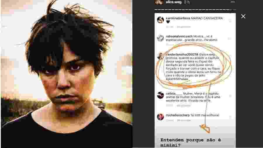 Alice Wegmann mostra assédio me rede social - Reprodução/Instagram